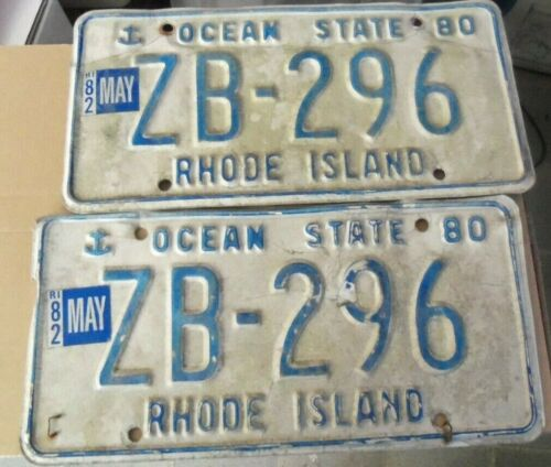 1980/82 RHODE ISLAND~ PAIR ~ ZB 296~OCEAN STATE~LICENSE PLATE~TAG