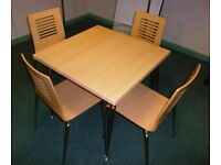 Kitchen Cafe Restaurant dining table & 4 chairs - Beech & chrome