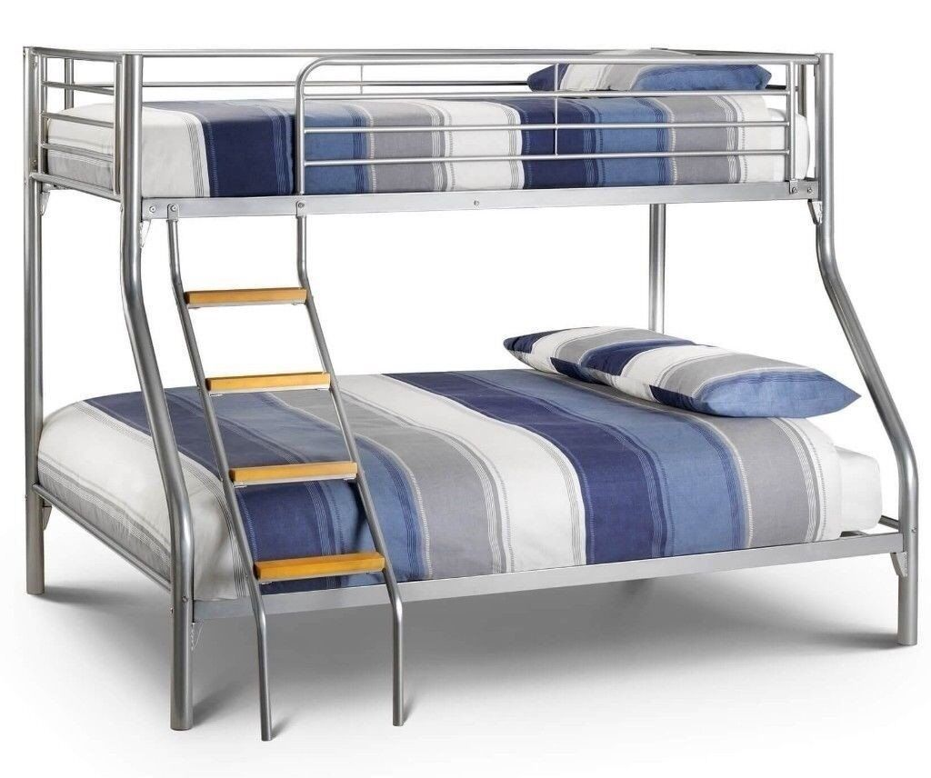Solid Reliable Trio Sleeper Metal Bunk Bed With Mattress Single Top Double Bottom S