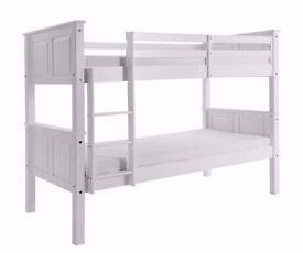 **Best Quality wooden** - Pine Bunk Bed Single Wooden Frame White Wood With Mattress Option
