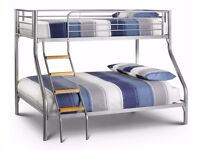 BRAND NEW TRIO METAL BUNK BED FRAME DOUBLE BOTTOM & SINGLE TOP HIGH QUALITY