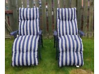 2 X Padded Relaxer Sunlounger Folding Blue Chairs in Excellent Condition Like Brand New