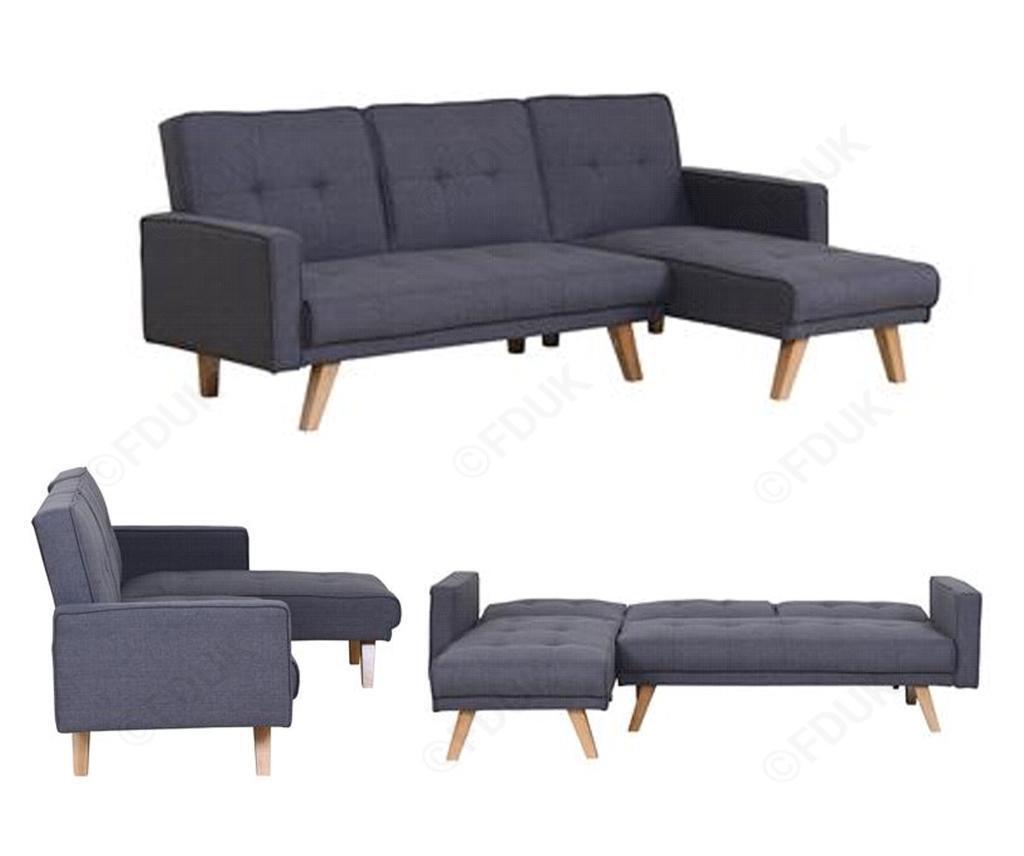 Grey Fabric L Shape Sofa Sofa Bed Corner Sofa Left