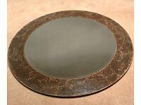 Round mink crackled frame mirror