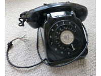 Vintage 1960s Rotary Dial Telephone in Black -N1900(E78)