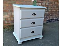 Solid pine chest of 3 drawers, hand painted Sage Green with modern handles