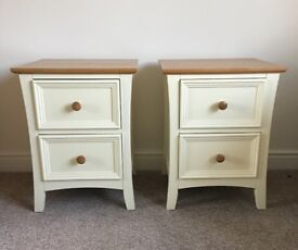 Oak and cream bedside drawers