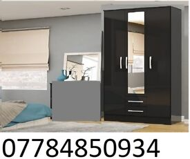 3 DOOR WARDROBE 2 with DRAW BLACK AND WHITE
