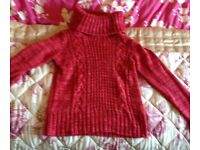 Burgundy/Red Polo neck Thick jumper in Excellent condition - Size 12 but would fit a 10 also
