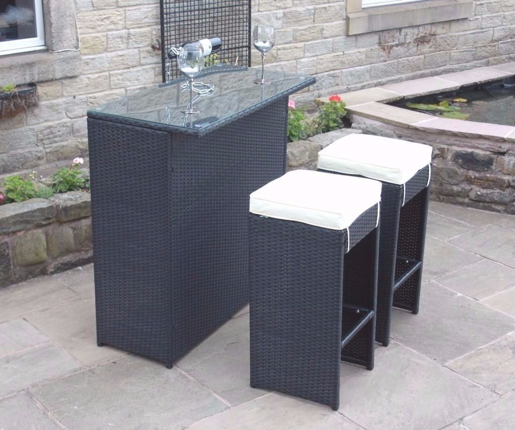 2 seater bar set in black rattan outdoor garden. Black Bedroom Furniture Sets. Home Design Ideas