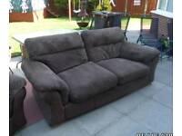 Brown corduroy and leather sofa