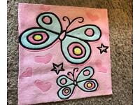 Girls room butterfly pink rug