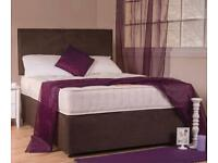 SUEDE DIVANS WITH MATCHING SUEDE HEADBOARD