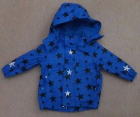 Boys blue waterproof jacket with removable hoody 9-12mths