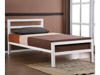 BRAND NEW SINGLE CITY BLOCK METAL BED FRAME WITH MATTRESS OF CHOICE BLACK WHITE ALSO IN DOUBLE SIZE