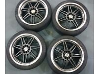 "Dotz 18"" 5 Stud Alloy Wheels & Tyres, 5x100 & 5x110 PCD Matt Black 225/40ZR18"
