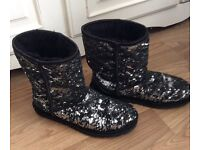 Genuine Black Sparkle Ugg Boots Size 7.5 UK