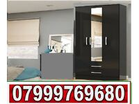 3 DOOR WARDROBE with 2 DRAW black and white 8521