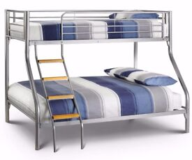 ❋★❋ TRIO BUNK BED WITH MATTRESS JUST £189 ❋★❋ METAL BUNK BED FRAME DOUBLE BOTTOM & SINGLE TOP
