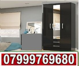 3 DOOR WARDROBE with 2 DRAW black and white