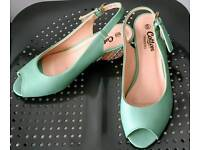 New Cotton Traders open toe green and multi coloured wedge mules- size 6/ 6.5
