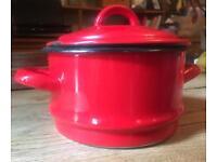 Vintage red enamel steamer