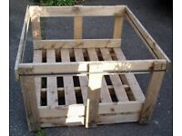 OPEN SIDED WOODEN CRATE IDEAL LOG STORE, HORSE FEEDER, BULK STORAGE PALLET or DIY USE