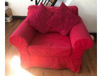 Comfy red EKTORP armchair