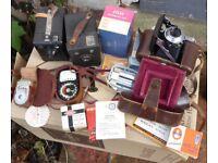 Vintage Cameras and light meters, Kodak box, Balda Baldix, Weston Master, Hamimex Sekonic