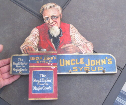 ANTIQUE UNCLE JOHNS MAPLE SYRUP WOODEN GENERAL STORE ADVERTISEMENT SIGN