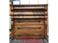 Antique Solid Walnut XL 5 Drawers