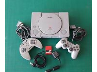 Play Station 1 PS ONE Console 2x Gaming Pad and 20 x Game