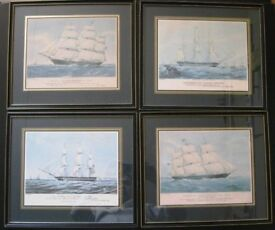 4 Rare antique original colour lithograph