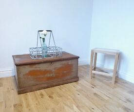 Vintage Stripped Pine Storage Chest / Blanket Box / Coffee Table