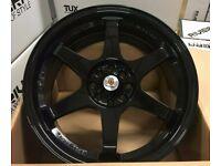 "Mini Vauxhall Fiat Honda x4 17"" Stuttgart St16-N Alloy Wheels Black 4x100"