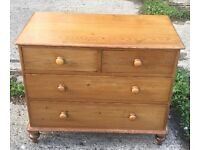 ANTIQUE VICTORIAN PINE THREE DRAWER CHEST OF DRAWERS