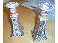 Blue and Orange Candle Holders Excellent Condition Local Pick up only 8.5 inch x 2inch sell as pair
