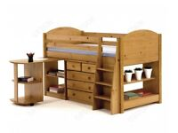 Solid Antique Pine Mid-Sleeper Bed great condition