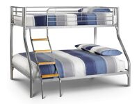 SUPERB SILVER FINISH --- BRAND NEW TRIO SLEEPER METAL BUNK BED SAME DAY EXPRESS DELIVERY