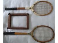 Vintage wooden tennis rackets