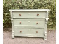 Antique Vintage Solid Oak Painted Chest Of Drawers
