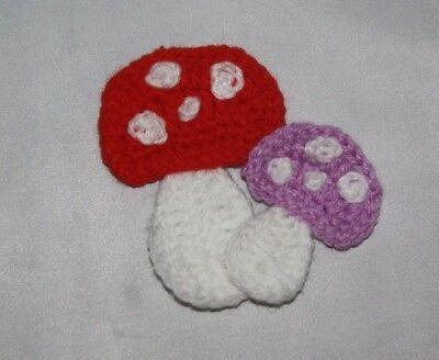 Handmade Crochet mushroom applique / motif / embellishment / scrapbooking