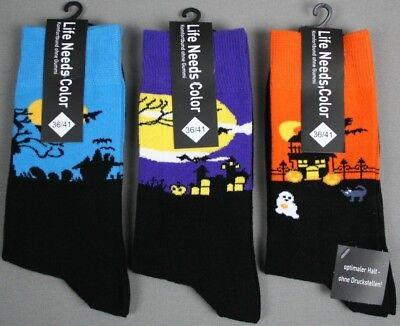 3 Paar Damen Socken Strümpfe Halloween Spukschloss Socken ohne Gummi Gr. (Halloween Socken)