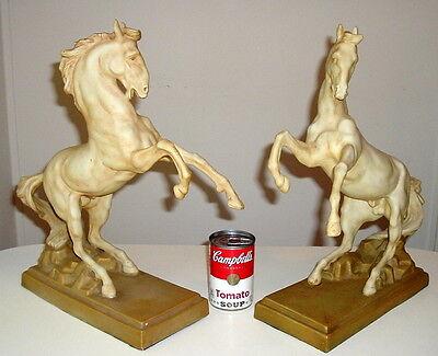 RARE ANTIQUE ROYAL DUX BOHEMIA PORCELAIN LARGE HORSE STATUES