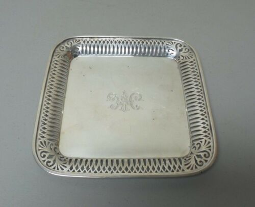 "BEAUTIFUL VINTAGE ESTATE STERLING SILVER 10.25"" TRAY, PIERCED BORDER, 530 grams"