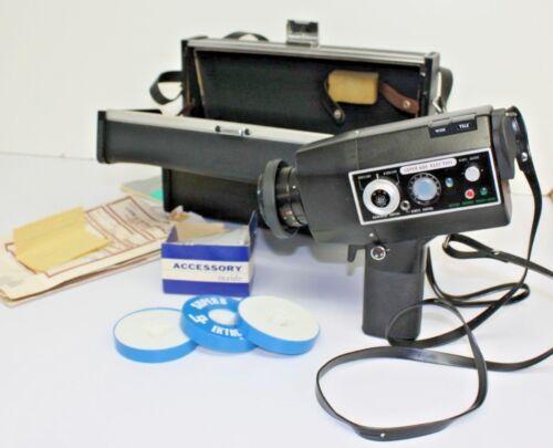 Vintage Yashica Super 600 Electro Movie Camera w/ Manual, Film, and Case UNTESTE