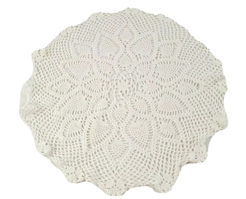 Vintage Pineapple Doily Crocheted White Round 19 Inches Handmade 2094