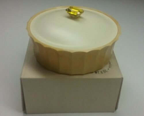 Vintage AVON Topaze Beauty Dust Powder Container & muff only with box