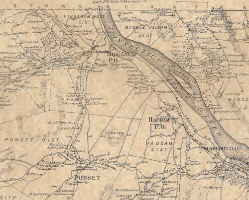 Haddam Higganum Ponset East Haddam CT 1874  Maps with Homeowners Names Shown
