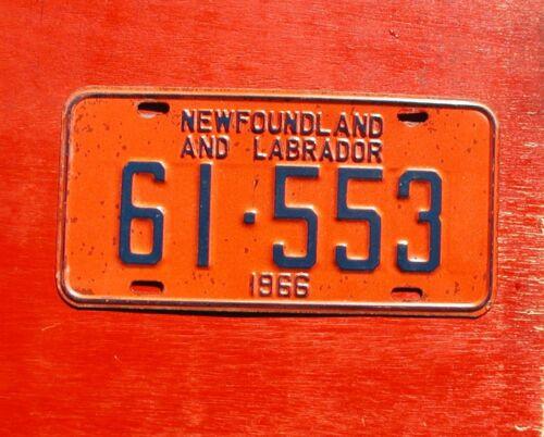 1966 Newfoundland Labrador Nice Original 61-553  License Plate